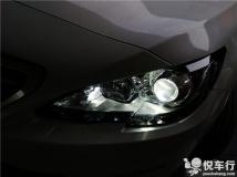 汉中标致408大灯改装 标致408改装锐倍德N9双光透镜锐倍德T1安定器汉雷氙气灯案例