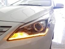 汉中瑞纳车灯升级,瑞纳改装技捷定制版透镜,升级双光泪眼