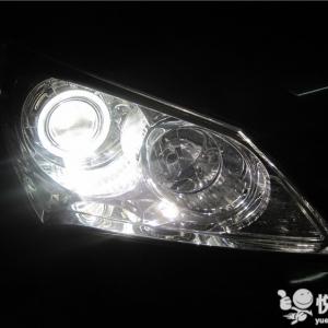 洋县车灯改装 洋县现代伊兰特改装大灯Q5透镜升级天使眼大灯 ...