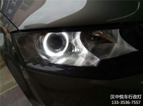 汉中斯柯达明锐大灯改装,明锐改装小糸Q5透镜加装天使眼