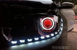 西安汽车改装大灯 西安尚酷改装Q5透镜白天使眼红恶魔眼