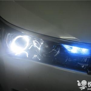 勉县改车灯 勉县卡罗拉改装车灯Q5双光透镜升级天使眼大灯